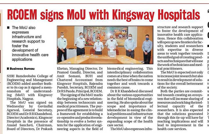 RCOEM Signs MOU with Kingsway Hospitals